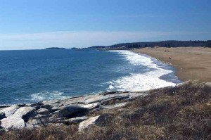 Reid State Park beach from rocks