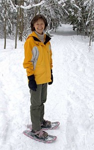 Ruth on snowshoes at Wolfes Neck
