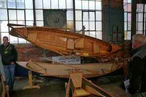 hand made wooden canoes at boat show