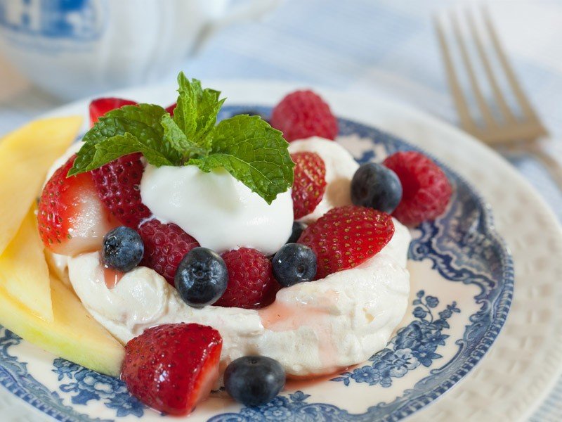fruit and whipped cream