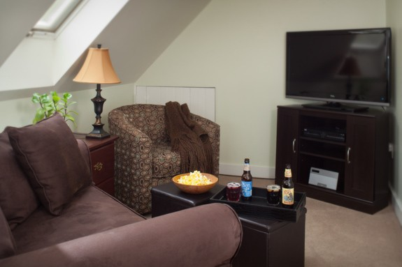 sitting area and tv