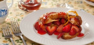 Croissant french toast slathered with strawberries