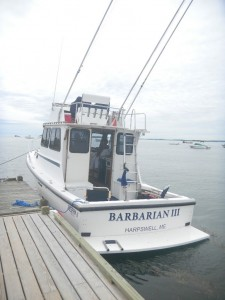 White cabin cruiser boating opportunity with outriggers at dock