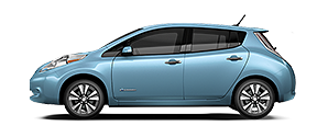 sky blue Nissan Leaf electric sedan sideview