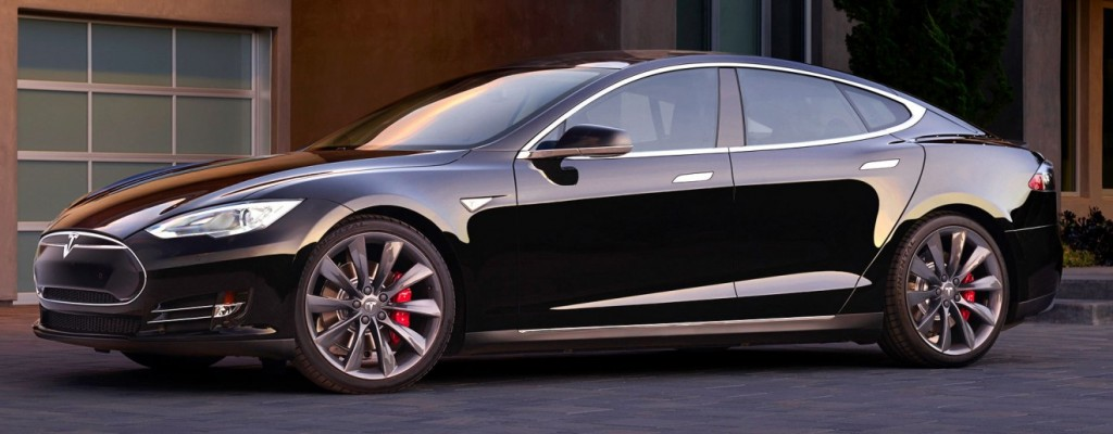 Sleek black sedan, Tesla-S electric car