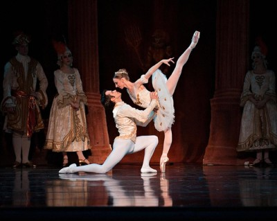 Male & Female ballet dancers on stage