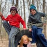 Kiddos on Tire Swing